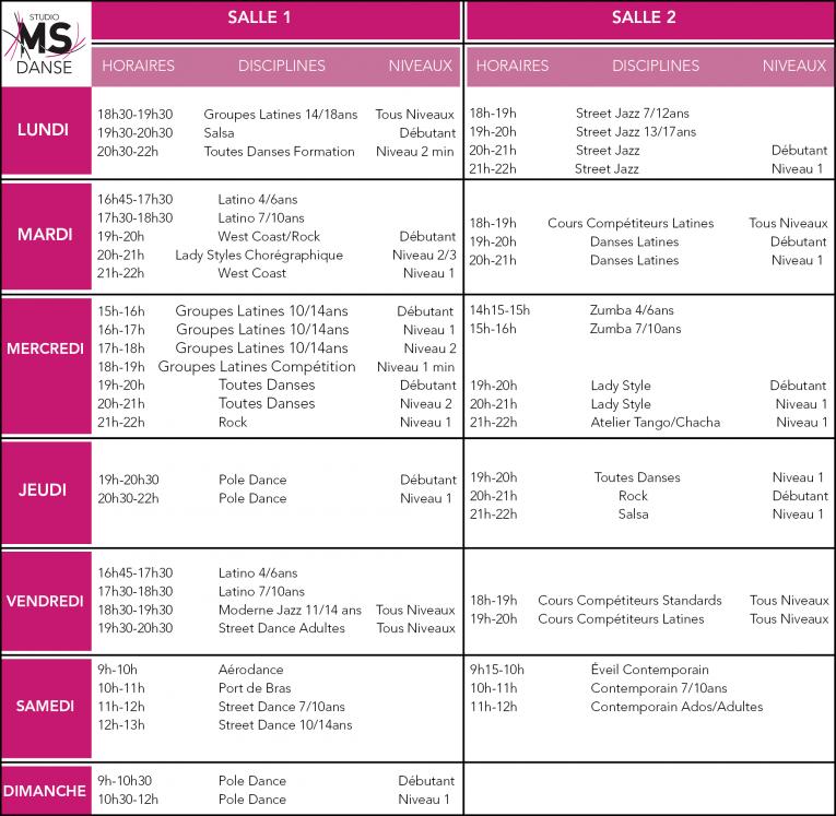 Planning des Cours MS Dance